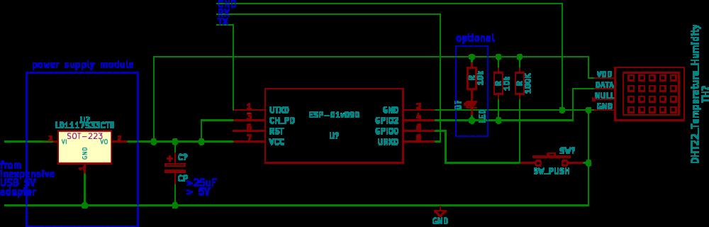 schematic of trivial DHT + ESP01